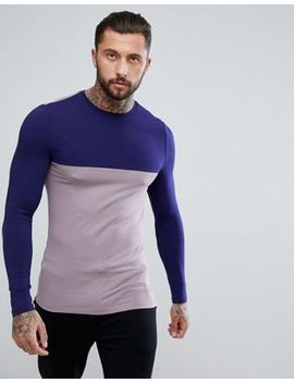 Asos Longline Muscle Fit T Shirt With Contrast Yoke And Long Sleeves by Asos
