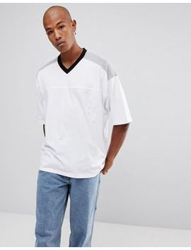 Asos Oversized T Shirt With Contrast Shoulders And Ringer In White by Asos