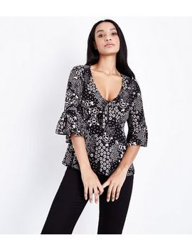 Black Floral Bell Sleeve Tie Front Top by New Look