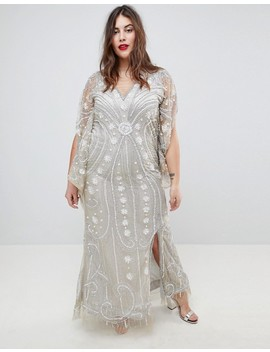 A Star Is Born Plus Embellished Maxi Dress With Cape Sleeves by A Star Is Born