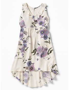 Ruffled Floral Print Hi Lo Trapeze Dress For Girls by Old Navy