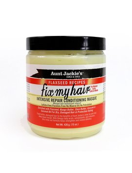 Aunt Jackie's Flaxseed Recipes Fix My Hair, Intensive Repair Conditioning Masque, Helps Prevent And Repair Damaged Hair, 15 Ounce Jar by Aunt Jackie's