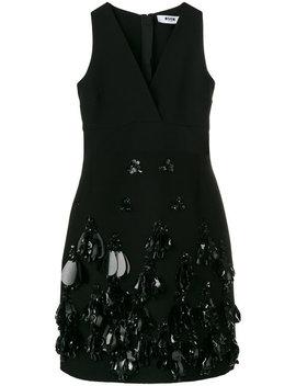 Deep V Embellished Dress by Msgm