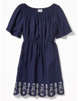 Cinched Waist Cutwork Hem Dress For Girls by Old Navy