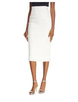 Fringe Tweed Pencil Skirt by Oscar De La Renta