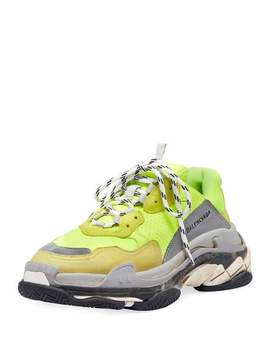 Triple S Mesh & Leather Sneaker, Yellow by Balenciaga