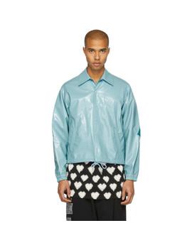 Blue 'facetasm' Rib Jacket by Facetasm