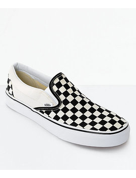 Vans Slip On Black &Amp; White Checkered Skate Shoes by Vans