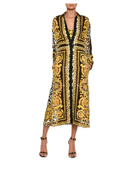Long Sleeve Silk Twill Baroque Print Midi Dress by Versace