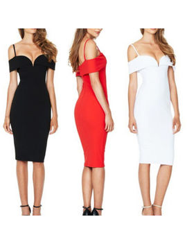 Women Sexy Deep V Strappy Bardot Bodycon Plunge Ladies Party Midi Pencil Dresses by Unbranded/Generic