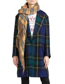 Strathyre Tartan Plaid Wool Blend Coat by Burberry