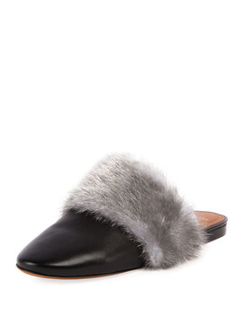 Bedford Mink Fur Trim Mule Flat by Givenchy