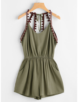 Embroidered Taped Pompom Trim Open Back Romper by Sheinside