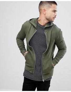 Asos Zip Up Muscle Hoodie In Khaki by Asos