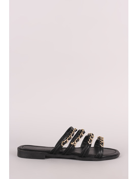 Leather Strappy Chain Embellished Open Toe Slip On Sandal by Urbanog