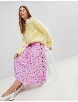 Asos Pleated Midaxi Skirt In Floral Print With Side Buttons by Asos Design