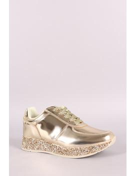 Liliana Patent Glitter Trim Low Top Lace Up Sneaker by Urbanog