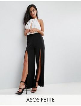 Asos Petite Wide Leg Trousers In Slinky With Thigh High Splits by Asos Petite