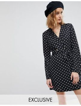 Reclaimed Vintage Inspired Polka Dot Tux Dress by Reclaimed Vintage