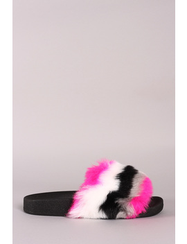 Bamboo Stripy Faux Fur Slide Sandal by Urbanog