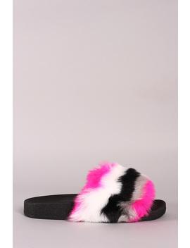 bamboo-stripy-faux-fur-slide-sandal by urbanog