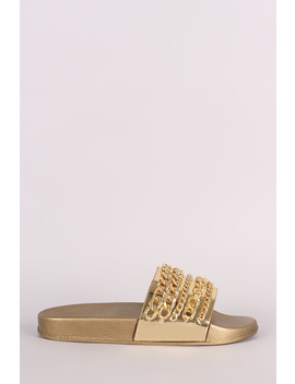 Bamboo Metallic Chain Embellished Open Toe Slide Sandal by Urbanog