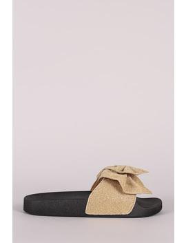 oversized-shimmer-bow-open-toe-slide-sandal by urbanog