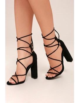 Hattie Black Suede Lace Up Heels by Lulu's