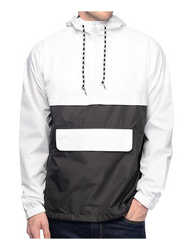 Zine Unlimited White & Black Anorak Windbreaker Jacket by Zine