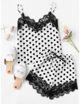 Eyelash Lace Trim Polka Dot Cami & Shorts Pj Set by Shein