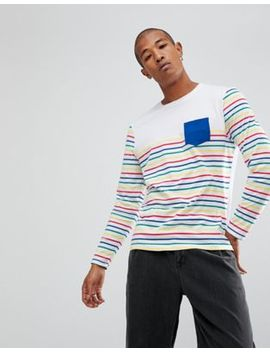 Asos Longline Long Sleeve T Shirt With Multi Colour Stripe by Asos