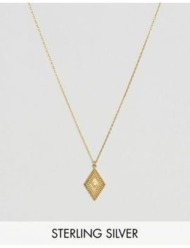 Carrie Elizabeth 14k Gold Vermeil Diamond Set Aztec Pendant Necklace by Carrie Elizabeth