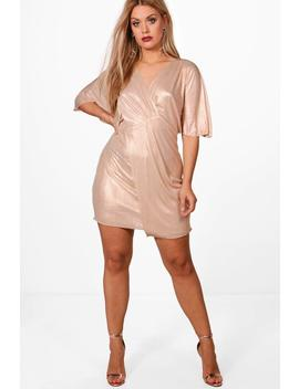 Plus Kate Batwing Foil Wrap Dress by Boohoo