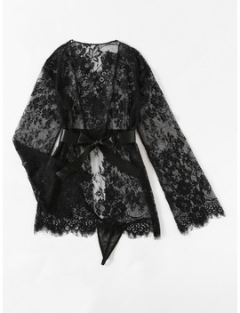 Self Tie Floral Lace Robe Set by Sheinside