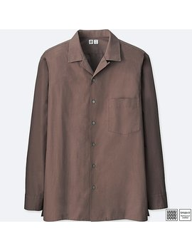Men Uniqlo U 100 Percents Cotton Open Collar Long Sleeve Shirt by Uniqlo