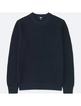 Men Waffle Crew Neck Long Sleeve Sweater by Uniqlo