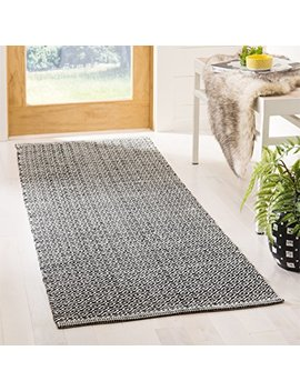"Safavieh Montauk Collection Mtk717 D Handmade Flatweave Ivory And Black Cotton Runner (2'3"" X 7') by Safavieh"