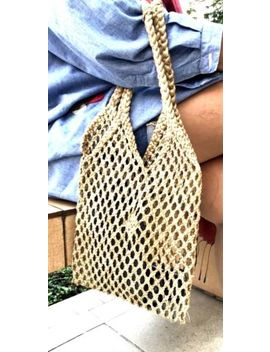 Woven Knitted Chic Shoulder Bag Shopping Handbag Handmade Vintage Brown by Handmade Bag