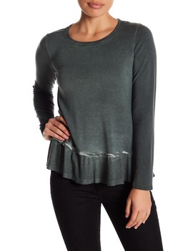 Enzyme Wash Peplum Long Sleeve Tee (Petite) by Cable & Gauge