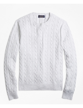 Supima® Cotton Cable Crewneck Sweater by Brooks Brothers