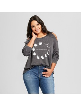 Women's Plus Size Moon Art Cold Shoulder Pullover Burnout Sweatshirt   Grayson Threads (Juniors')   Black by Grayson Threads