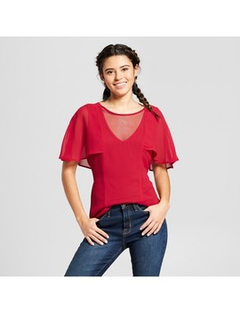 Women's Flutter Sleeve Illusion Tie Back Top   3 Hearts (Juniors') Scarlet by 3 Hearts