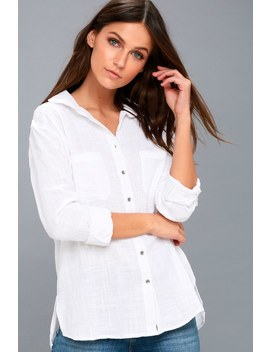 Easy Moves White Long Sleeve Button Up Top by Billabong