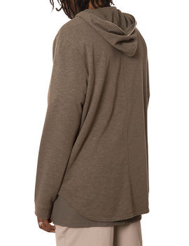 The Long Sleeve Curved Hem Half Zip Hoodie In Burnt Olive by Elwood