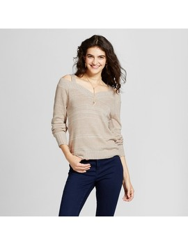 Women's Off The Shoulder V Neck Sweater   Alley & Gabby (Juniors') Beige by Alley & Gabby