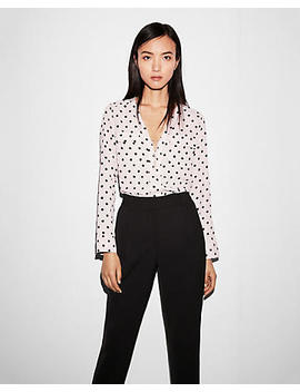 Polka Dot Long Sleeve Zip Front Blouse by Express