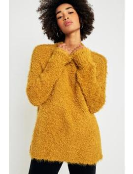 Sparkle & Fade Teddy Mock Neck Yellow Jumper by Urban Outfitters