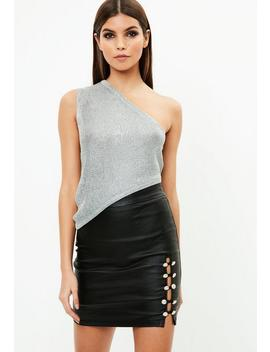 Silver Metallic One Shoulder Knitted Top by Missguided