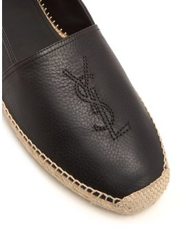 Logo Embroidered Leather Espadrilles by Saint Laurent