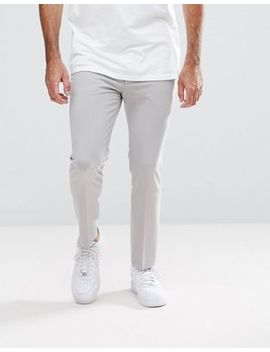 Asos Super Skinny Cropped Smart Trousers In Ice Grey by Asos